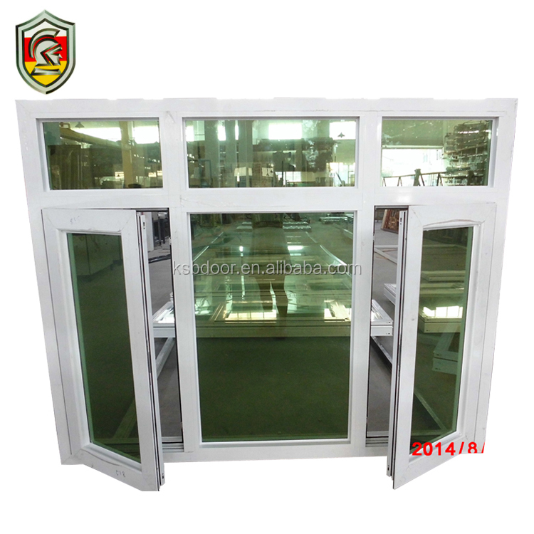 5mm double tempered glass powder coated white aluminium frame casement industrial windows