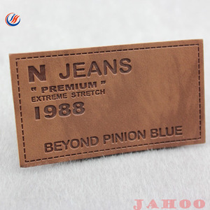 Logo Design Garment Jeans Genuine PU Custom Embossed Leather label