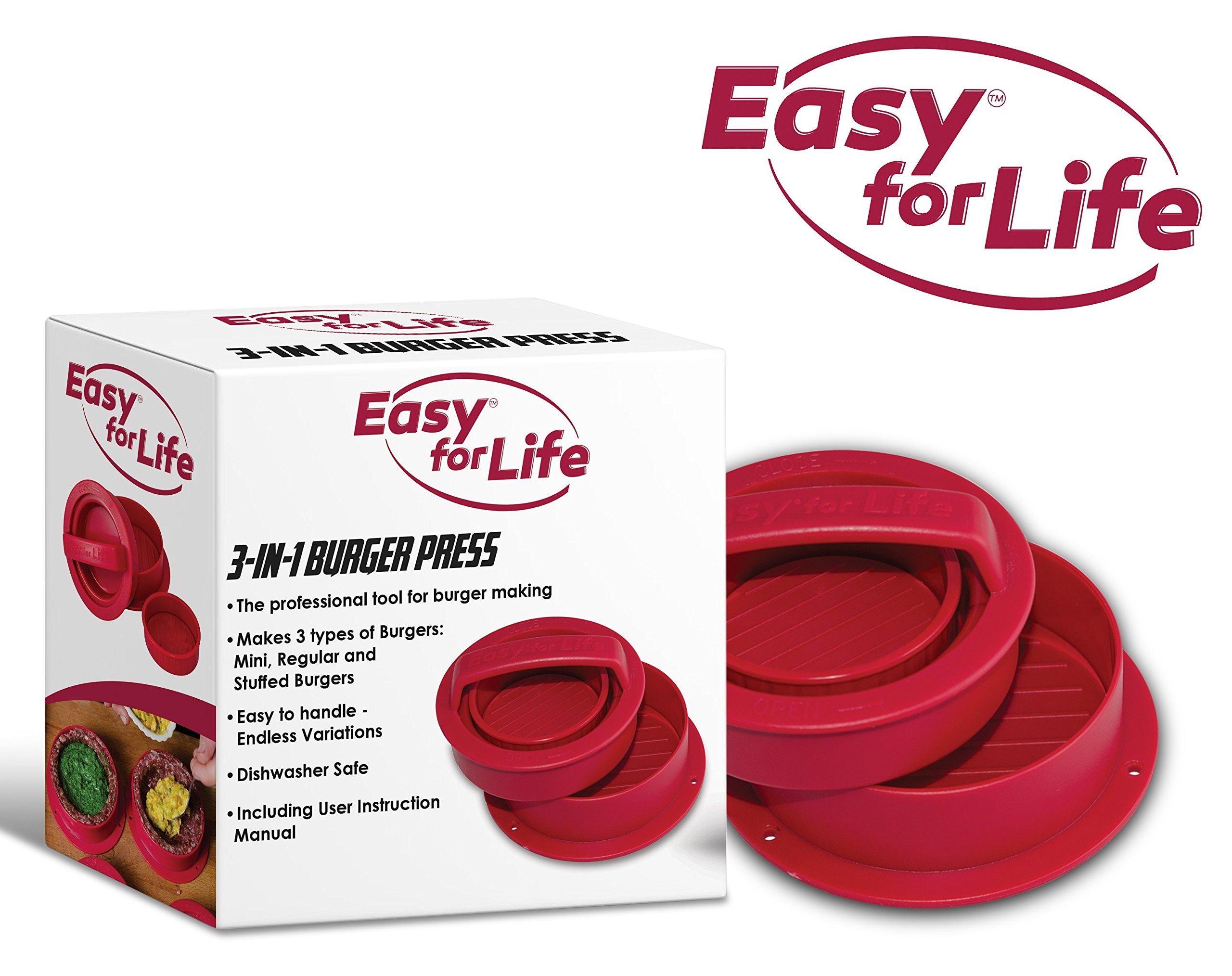 Easy for Life Hamburger Shaper Stuffed Burger Press Kit 3 in 1 - Exclusive Red Color, Non Stick Hamburger Maker, Homemade Patties & Sliders, Patty Molds, Veggie, Best Burger Press Set