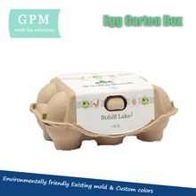 Eco friendly low price custom printed 6 cells biodegradable recycled paper cardboard bulk egg cartons