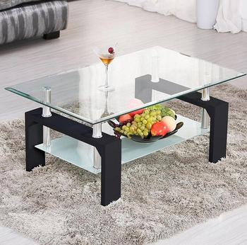Living room furniture height adjust modern glass coffee table cheap center table