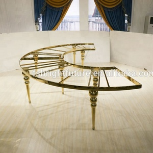 Half Round C Shaped Golden Wedding Table