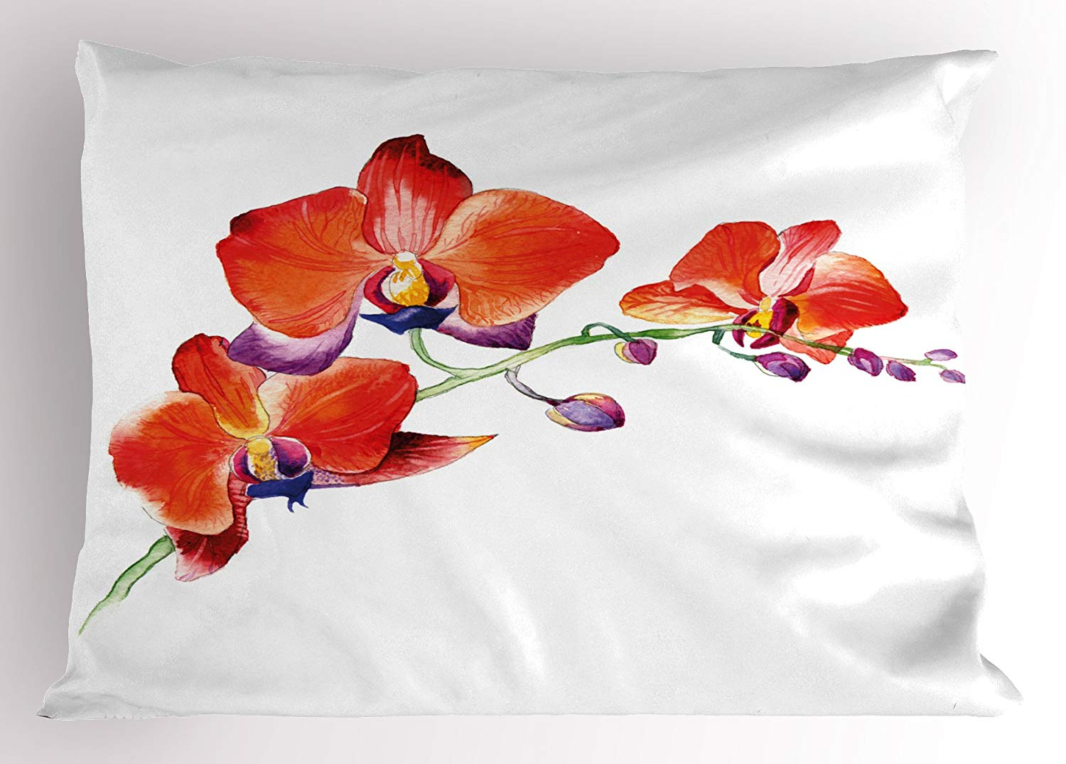 Floral Pillow Sham Orchid Flower Branch with Vivid Color Petals Blossom Botany W