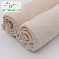 wholesale natural stripes organic jersey knit fabric ,single cotton jersey fabric