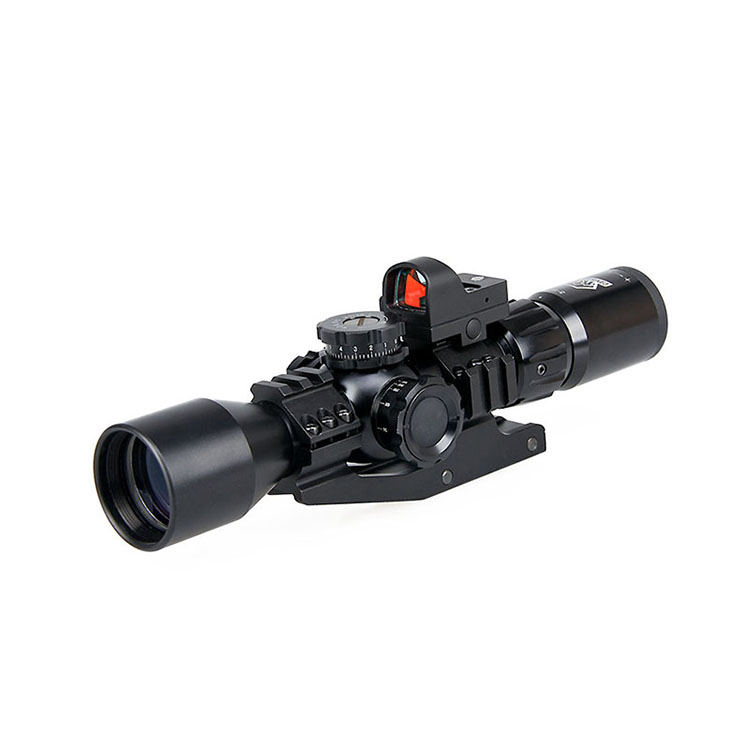 Canis Latrans green multi coated rifle scope and red dot combo
