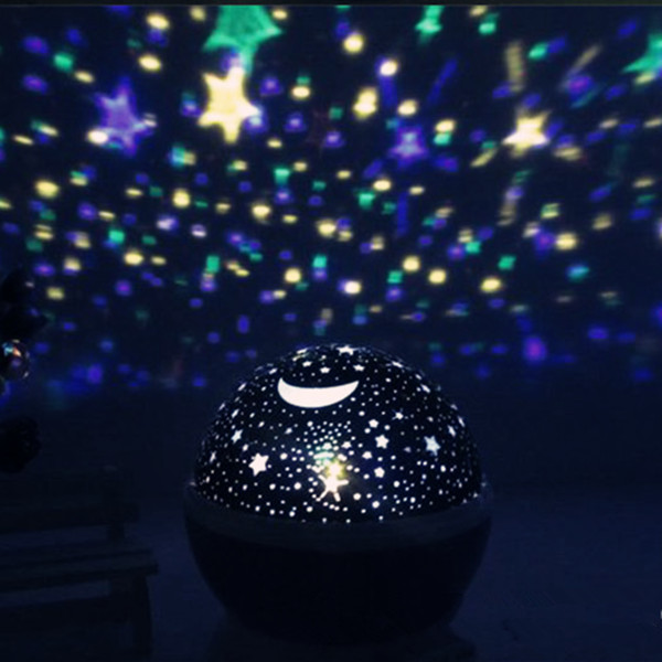 New Novelty Night Light Rotary Flashing Starry Star Moon Sky Star Projector Projector Lamp LED +Usb Line for Kids Children Baby