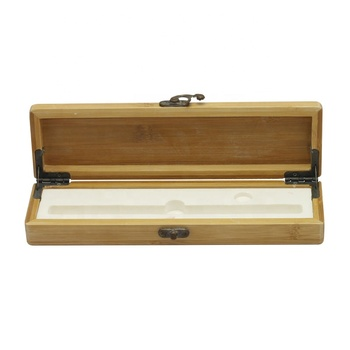 Wood colored rectangular single packaging bamboo pen gift box
