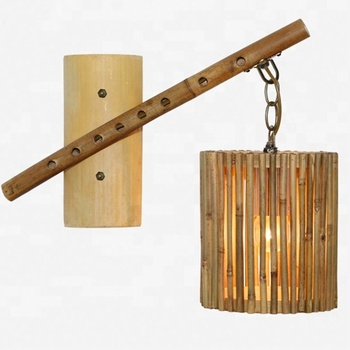 New Design Natural Bamboo Shades Sconce Lighting Indoor Decoration Antique Wall Lamp For Restaurant