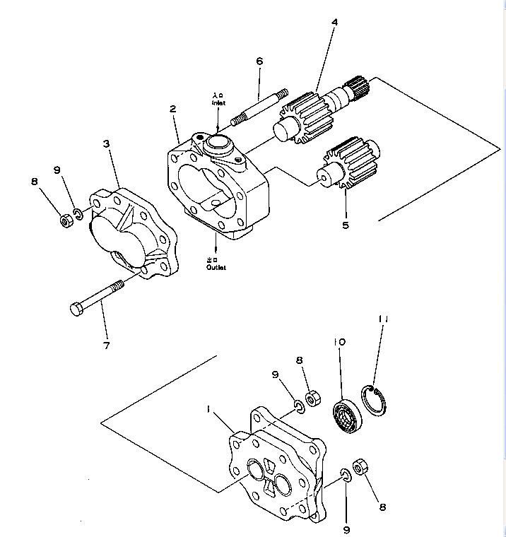 07432 72101 Bulldozer D80 D85 Dozer Steering Pump Hydraulic Gear