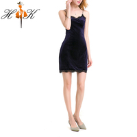 HTK New Arrival Woman Sexy Velvet Strap Mini Bodycon Dress