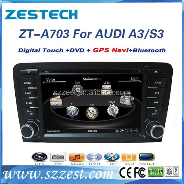 ZESTECH Wholesales Car dvd headunit for audi A3 CAR gps navigation with bluetooth radio fm am usb sd all in functions
