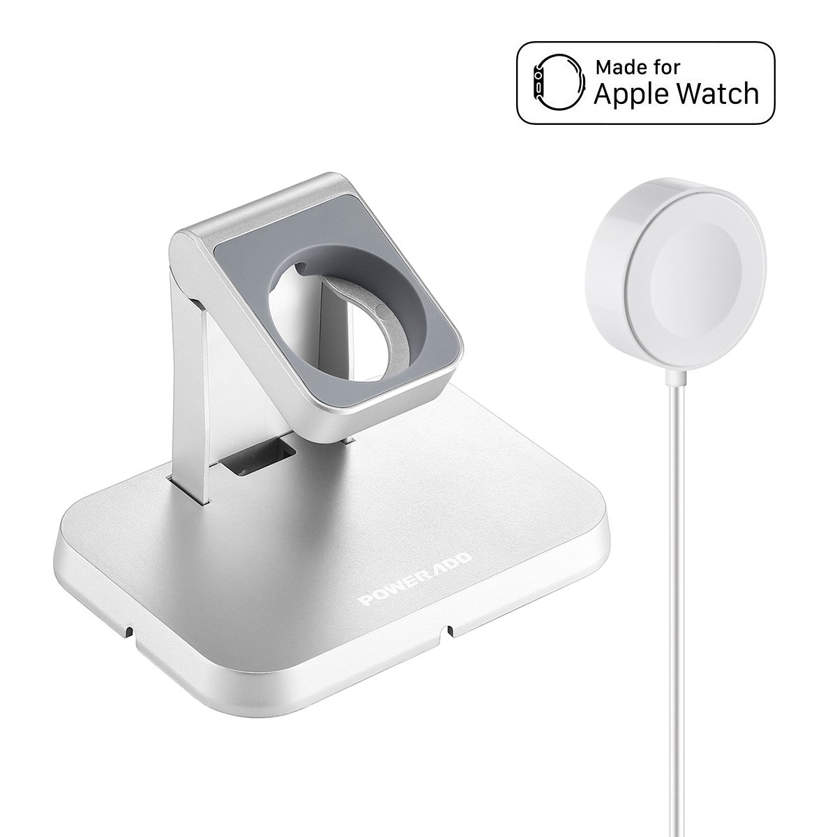 [ Apple MFi Certified ] Apple Watch Charger, Poweradd Magnetic Charging Dock and Stand for Apple Watch / iWatch 38mm & 42mm with Detachable Magnetic Charging Cable, Apple Watch Series 1 / 2 / 3
