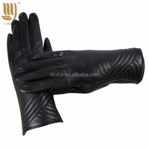 Fashion Women Genuine Leather Gloves Ladies Winter Warm Fleece Gloves Cycling Driving Gloves