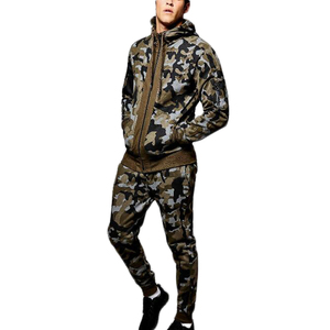 Factory Price Latest Fashion Skinny Fit Camo Hooded Tracksuit