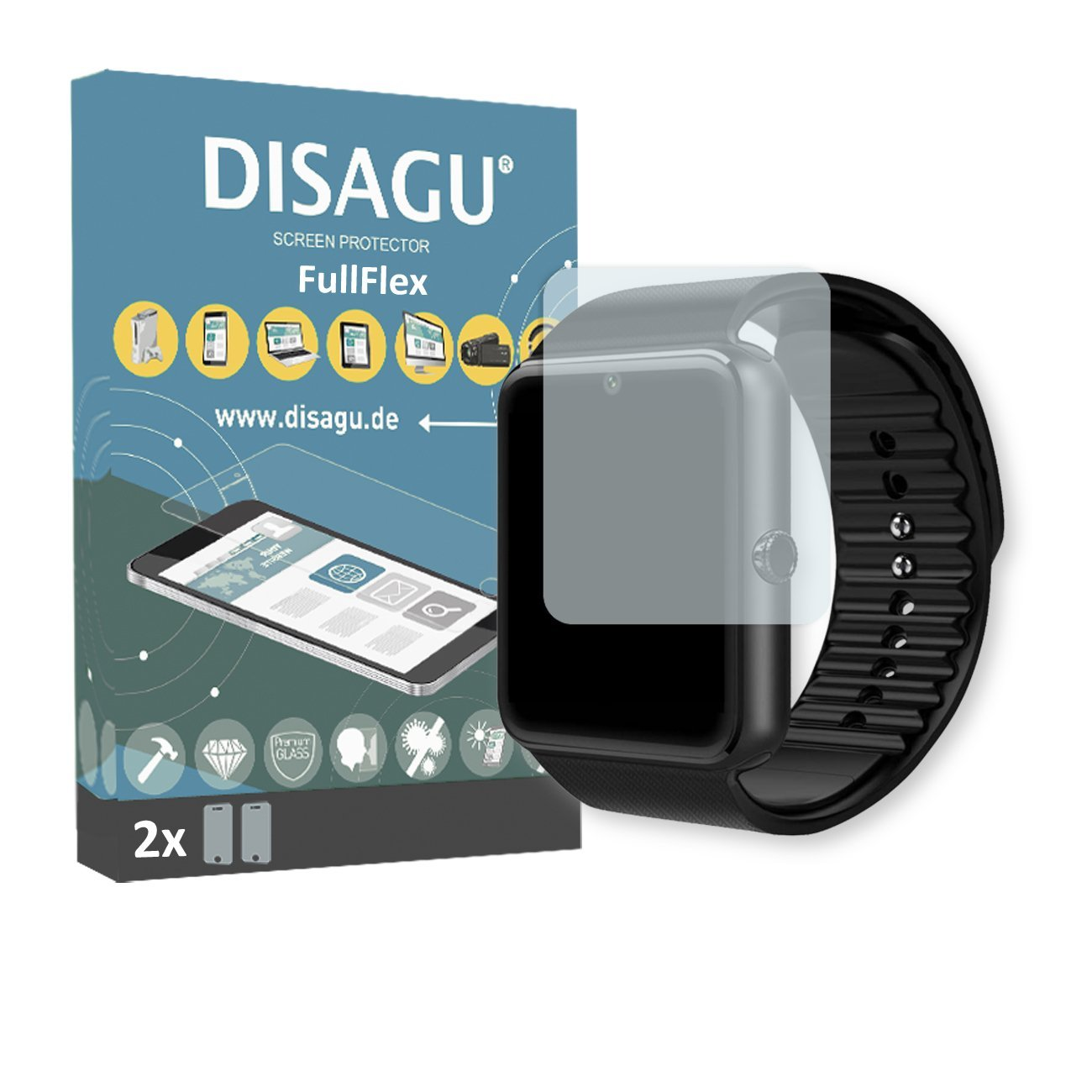 "2 x Disagu FullFlex screen protector for LaTEC 1.54"" Bluetooth Smart Watch foil (screen protector fits accurately on any curved display)"