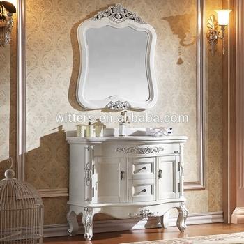 Latest European Style Vanity Unit Design Vintage Bathroom Vanities Mirror Cabinet Beautiful Furniture Wts819 White