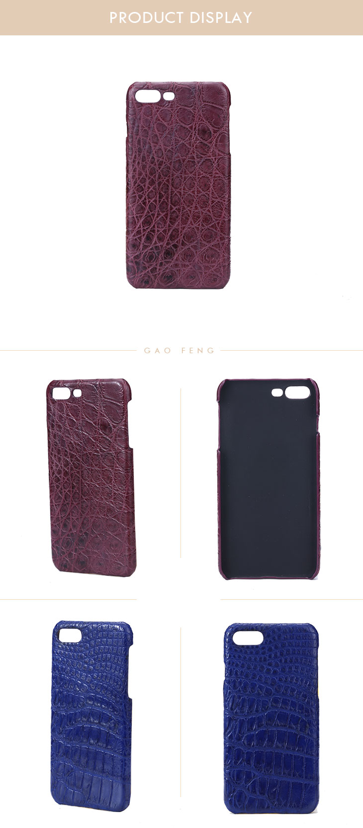 Luxury New Design High Quality  Crocodile Leather Mobile Phone Shell