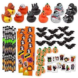 156 Piece Mega Halloween Toy Novelty Assortment; 12 Halloween Ducks, 12 Halloween Pencils, 12 Halloween Sticker Sheets; 48 Halloween Erasers; 72 Halloween Glitter Tattoos!!, Model: , Toys & Play