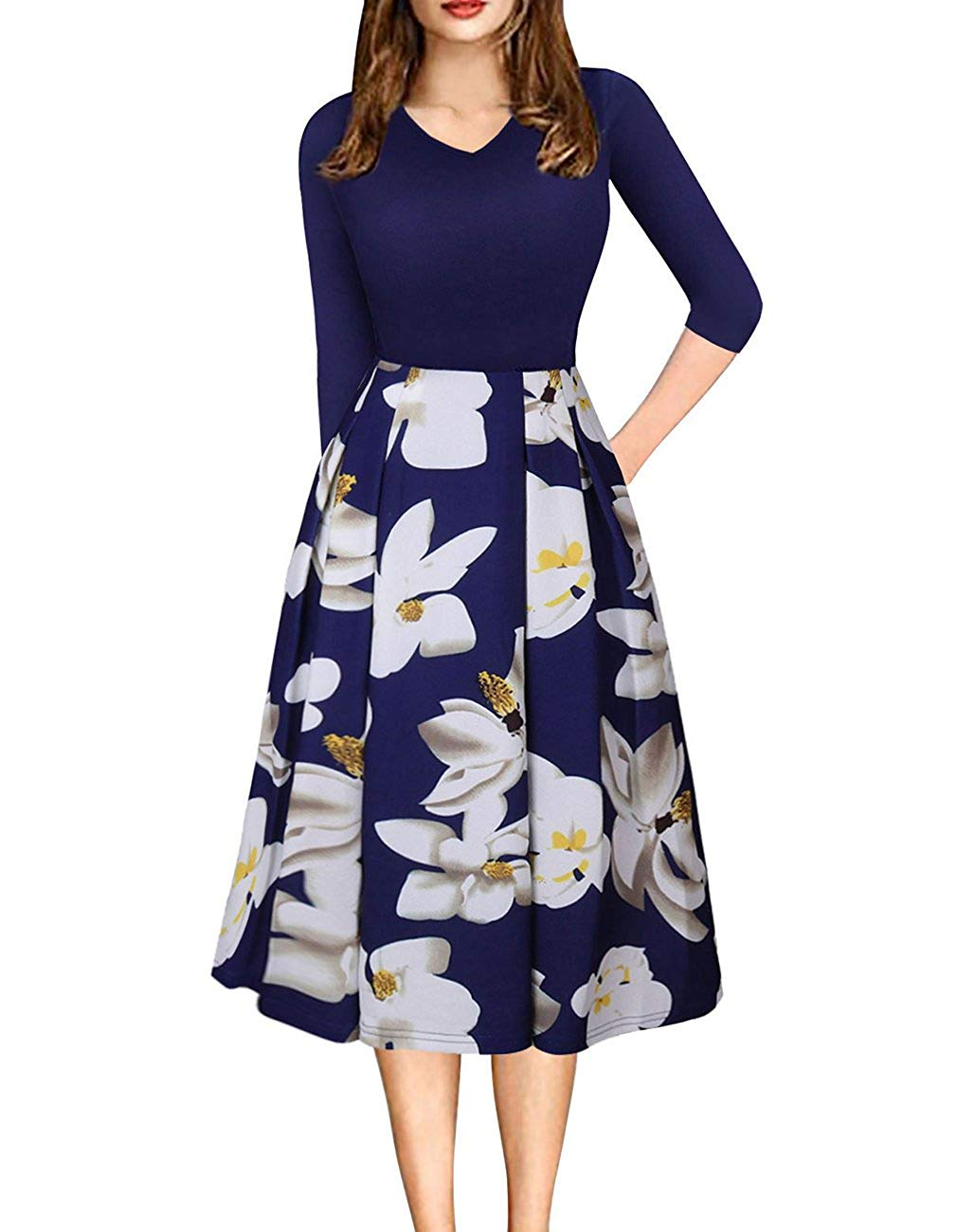 Get Quotations · Defal Womens Vintage 3 4 Sleeve Bohemia Floral Midi  Patchwork Dress Puffy Swing Casual Party 01c9271ffb6