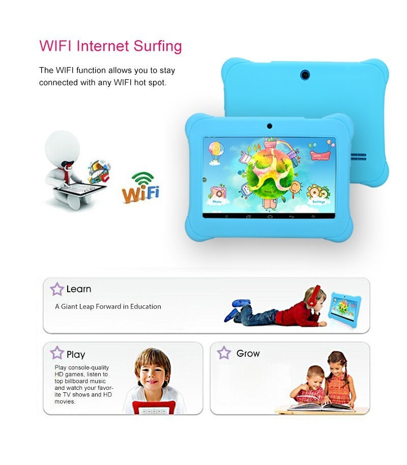 Kids Tablet for Children Quad Core IPS Screen 1024*600 Android 4.2.2 1GB+8GB Wifi With Case Gift 2016