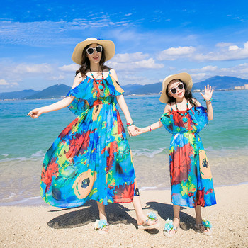 3baf3c0f4 2017 Summer Family Clothes Mother Daughter Beach Dresses Womens Kids ...