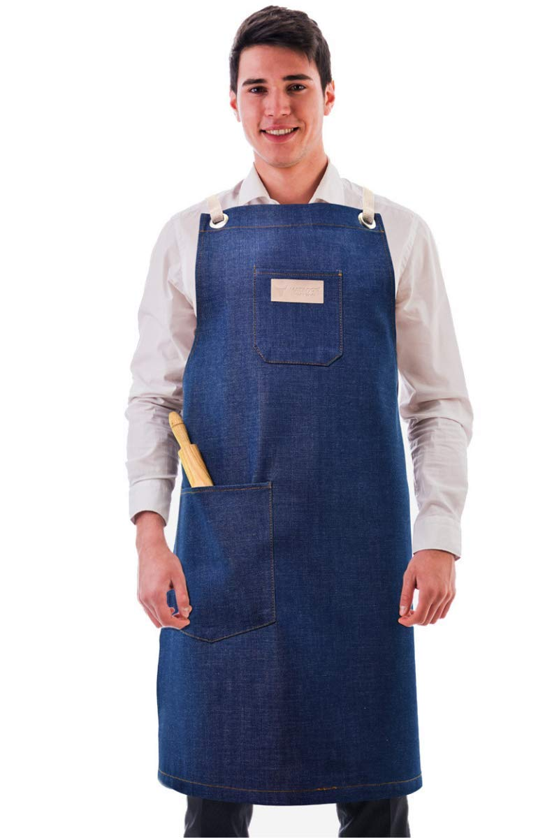 Matador Useful Goods | Denim Apron with Pockets for Men | Grill, Tool, Kitchen, Cooking, Work, Barista, Shop, Chef Apron | Adjustable Cross Back Straps