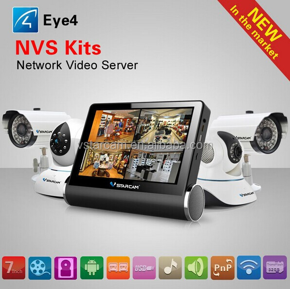 2015 NVS-K200 7 inch HD Capacitive Touch Screen Network Video Recorders Wireless CCTV Kit DVR 4CH IP Camera NVR Wifi