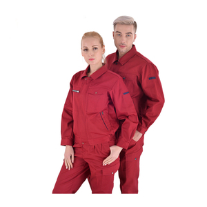 Big sales two piece red overalls working uniform for men and women