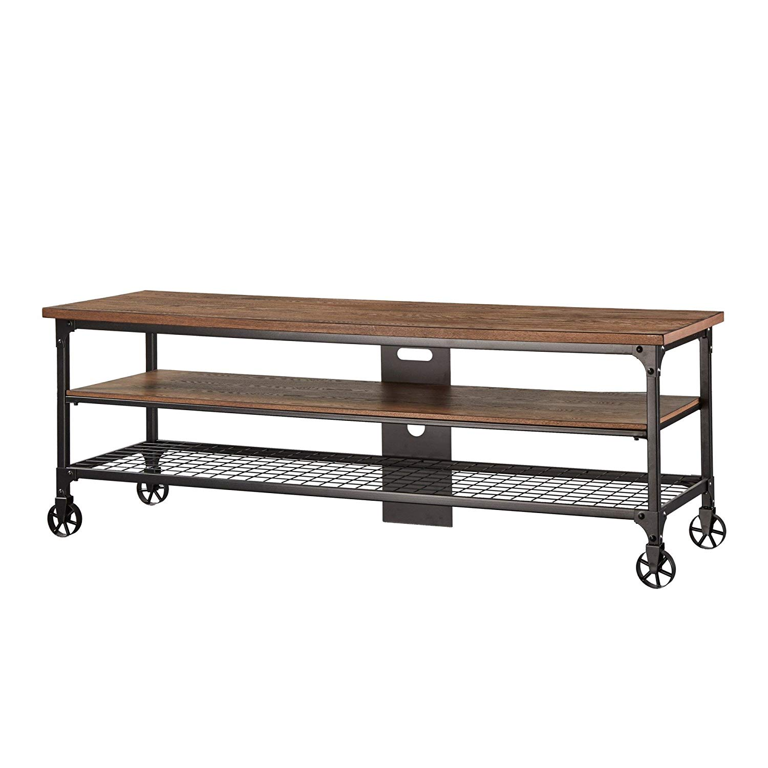 6a3b10189cce Industrial Nelson Industrial Modern Rustic Console Sofa Table TV Stand Made  with MDF Black Sand Finish