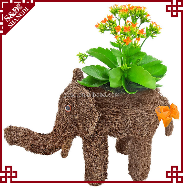 Cute natural material woven indoor decorative animal elephant planter