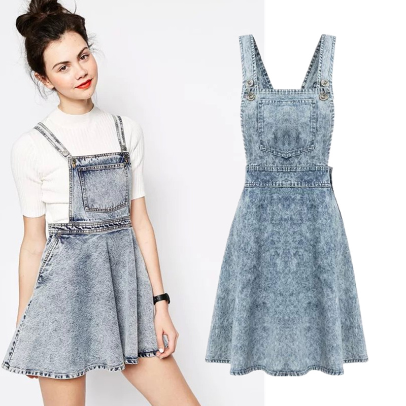 44e8ac706 Get Quotations · 2015 Autumn Girls preppy style hippie snow denim suspender  skirt overalls vintage cute denim pinafore skirt