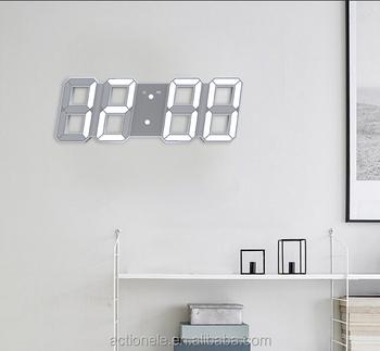 unique design large led digital wall clock 8 shape