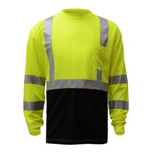 Cut and Sew Mens Safety 100% Cotton Custom Long Sleeve T Shirt