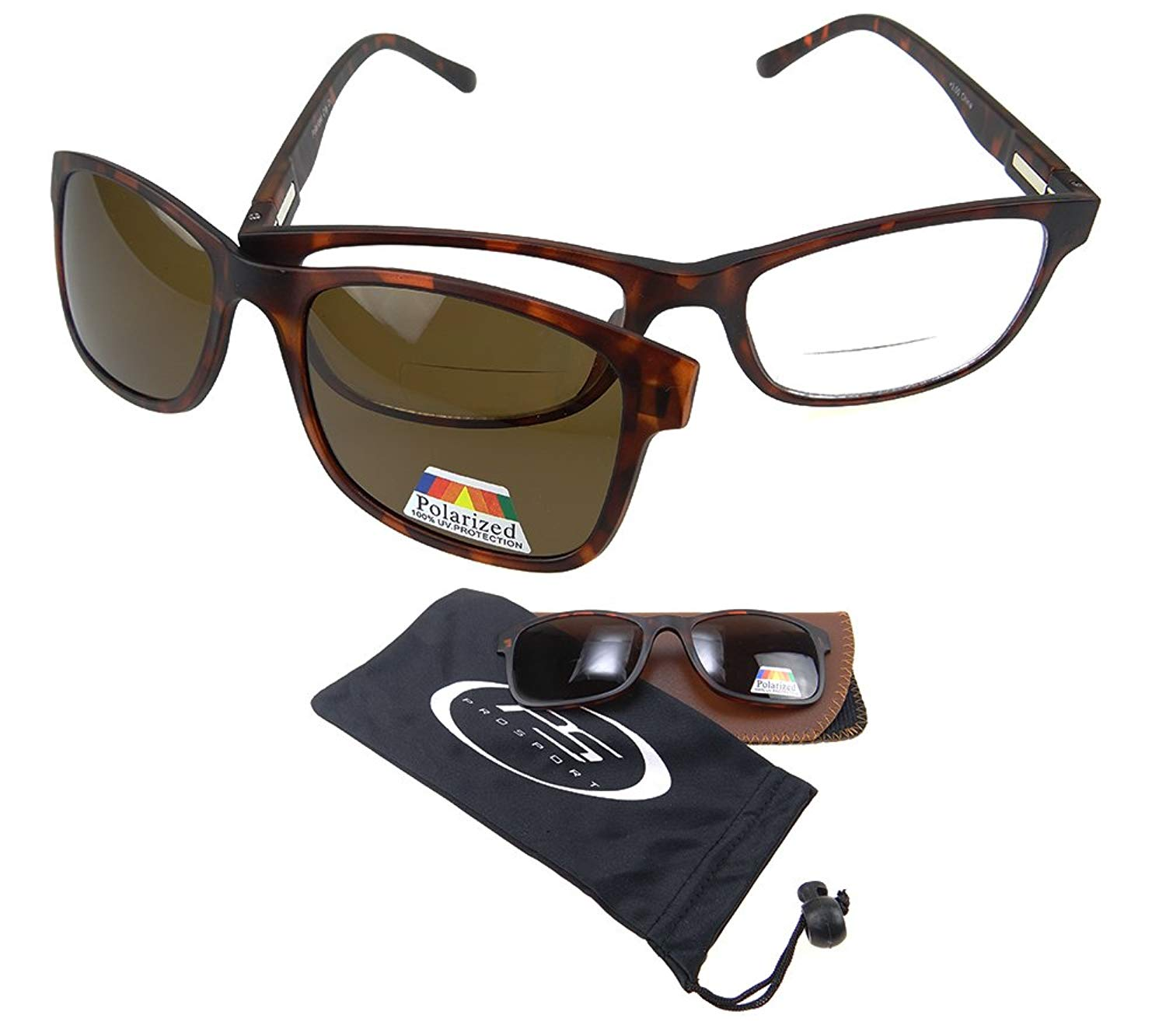6ff1c55d0685 Get Quotations · Polarized Bifocal Readers. Bifocal Glasses & Easy Magnetic  Polarized Clip-On