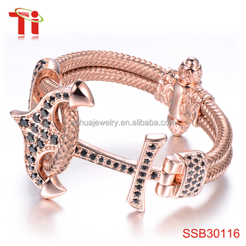 New Gold Bracelet Designs For Men Anchor Bangle Rose Plated Aaazircon Stone Inlay 316l