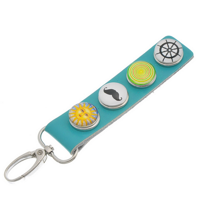 Green Real Leather Glass Snap Button Key Chain W/Lobster Clasp