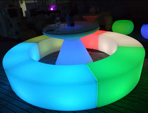 Ronde cirkel LED licht bench sofa antieke led sofa bankje bar bench