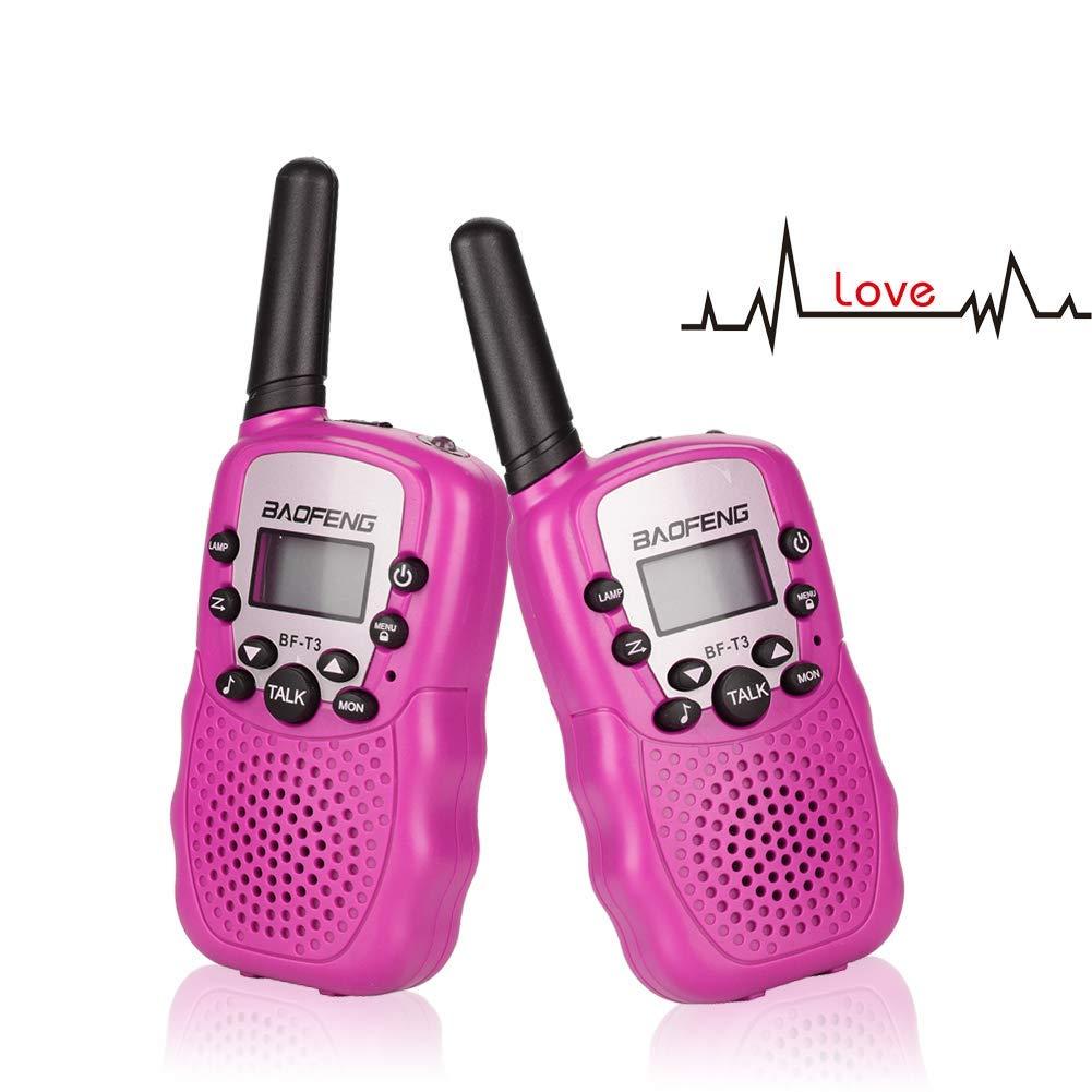 Treemoo Walkie Talkies for Kids BF-T3 Children Outdoor Toys 22 Channels 3 Miles Range(1 Pair Pink)