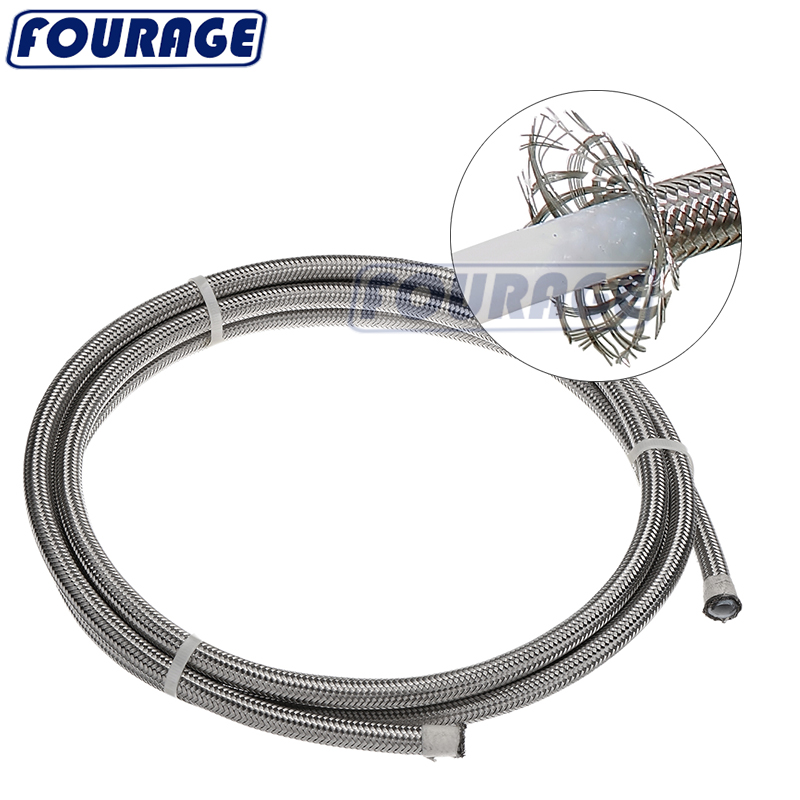Oil Fuel Brake Line 3AN 4AN 6AN - 12 AN Stainless Steel Braided Teflon PTFE Hose