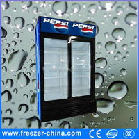 Upright beverage display cooler 2 glass door vertical showcase cold drink/soft drink refrigerator