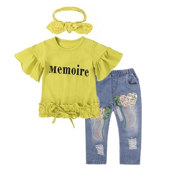 Spring fall boutique children clothes baby girl set 2 piece cheap china bulk wholesale kids clothing