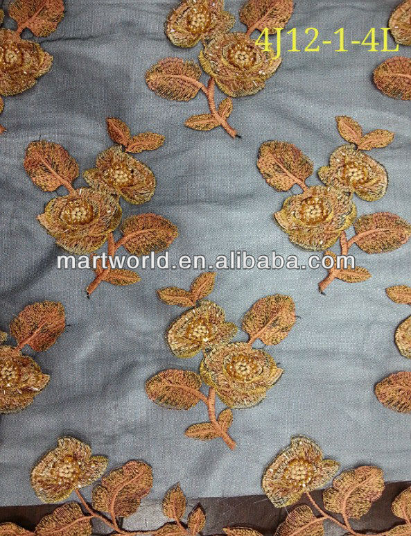 Golden Hand Embroidery Designs For Salwar Kameez Fabric(4j12-1-4l ...