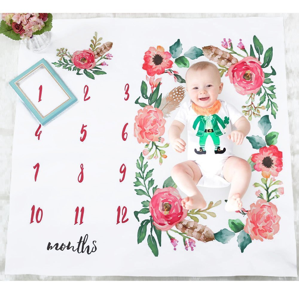 Baby Monthly Milestone Blanket, Oenbopo Newborn Infant Photo Prop Shoots Backdrop Kids Swaddling Wrap Baby Shower Gift with Month Numbers for Photography Background (Flower)