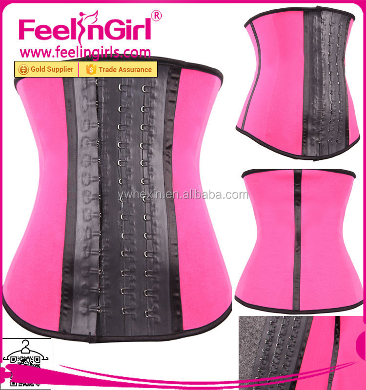 New Beautiful Sexy Pink 4 Steel Boned Latex Girdle for Women with Big Hooks