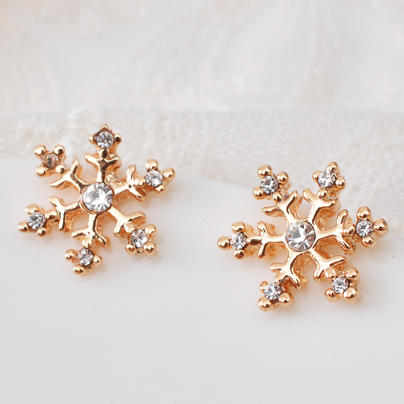 Fashion Earring Designs New Model Earrings Gold Plated Snow Flower Sonwflake Crystal Rhinestone Christmas Earrings
