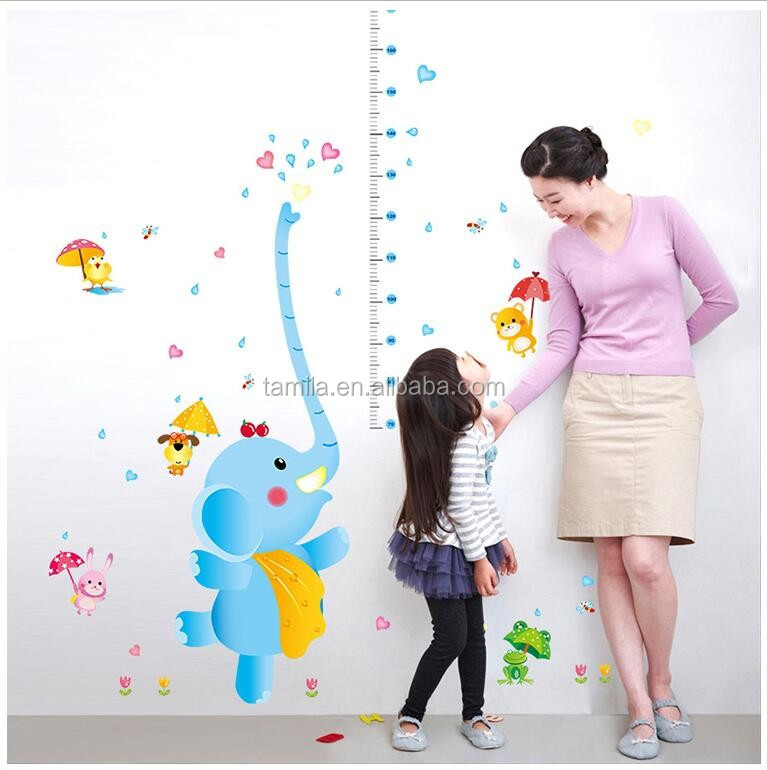 Hot cartoon animal Elephant height measurement wall stickers decal art pvc growth chart wall sticker for kids baby room