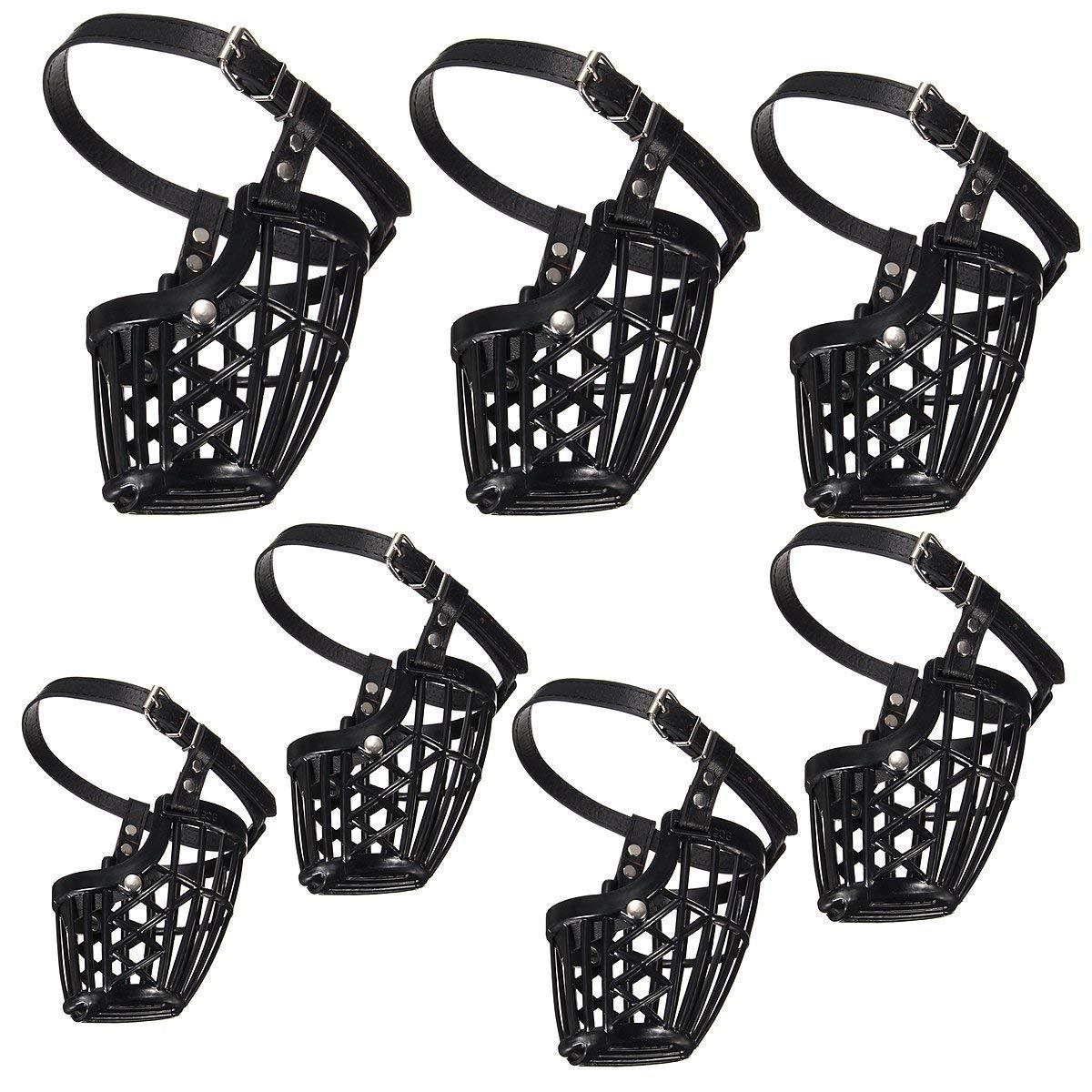 Vivona Hardware & Accessories Adjustable Pet Dog No Bite Plastic Basket Muzzle Cage Mouth Mesh Cover 7 Sizes - (Size: #4)