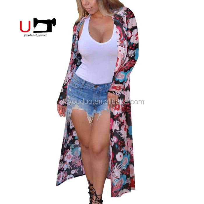 Top Tank Long Sleeve Maxi Split Floral Printed Chiffon Open Stitch Women Coat For Wholesale