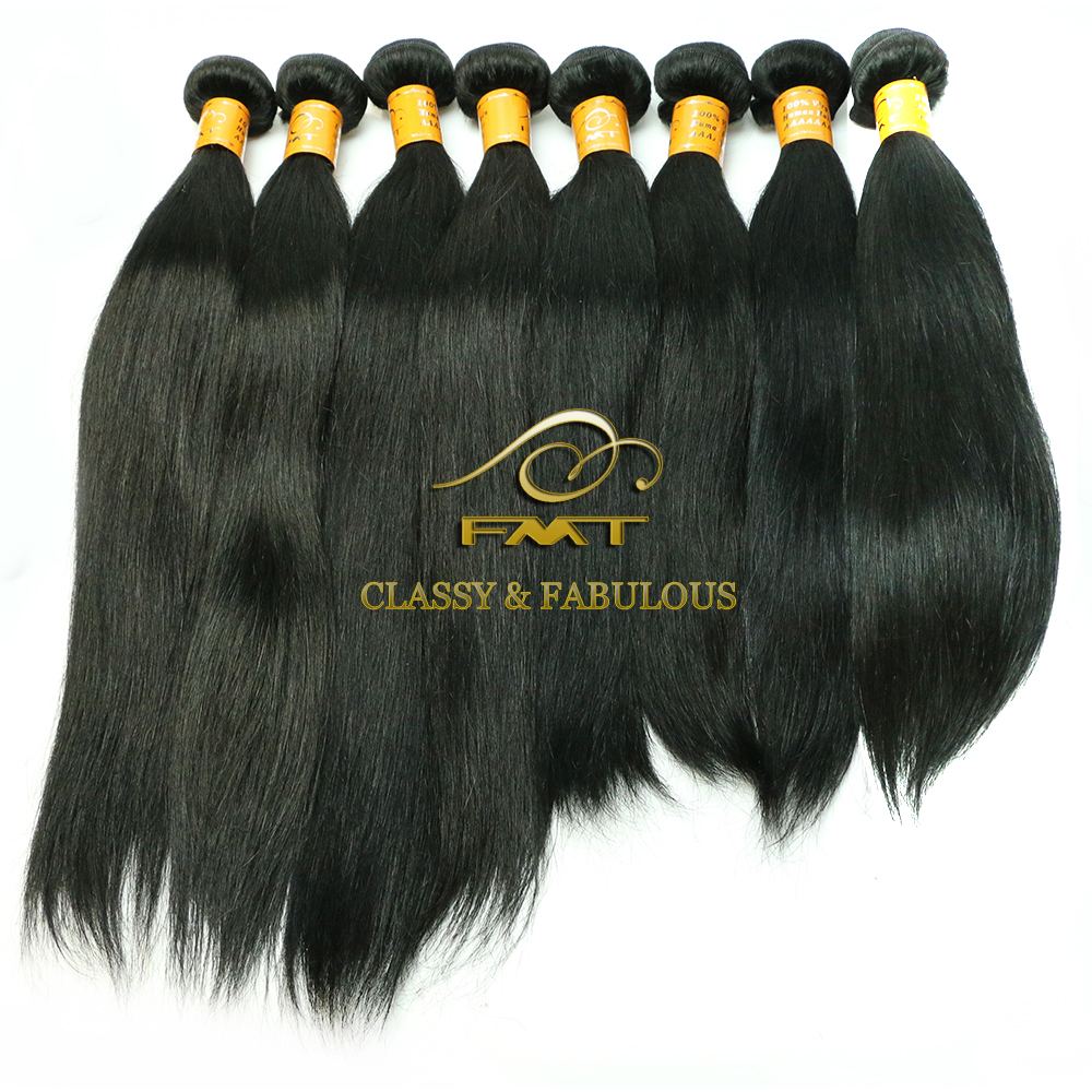 FMT best selling prodct dyeable silky straight wave no tangle no shed hair weave 100 Peruvian/ Brazilian human hair remy