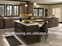 Red solid wood kitchen with black solid wood door panel Island kitchen cabinet